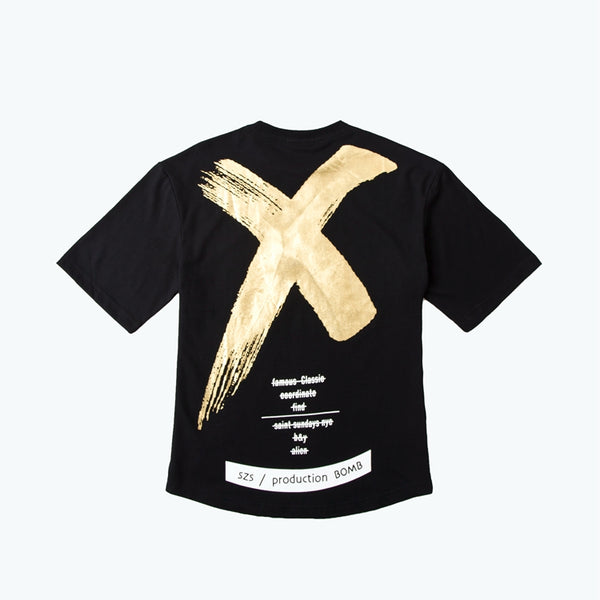 AELFRIC Oversize T-shirt Gold White X Cross Letter Print Black T Shirt Streetwear Men Cotton Hip Hop Swag Short Sleeve Tee GB12 - thefashionique