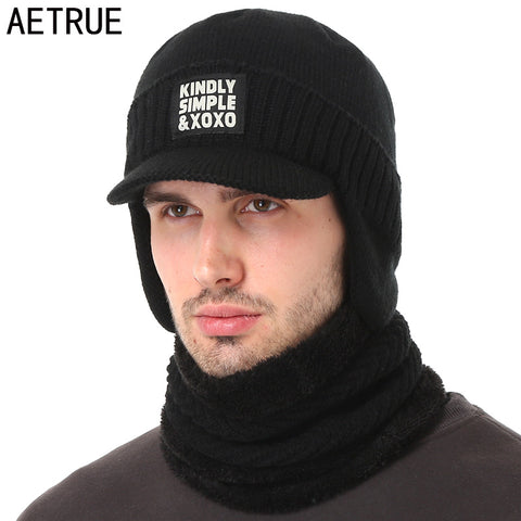 AETRUE Winter Hat Scarf Skullies Beanies For Men Knitted Hat Women Mask Thick Balaclava Earflap Wool Bonnet Male Beanie Hats Cap
