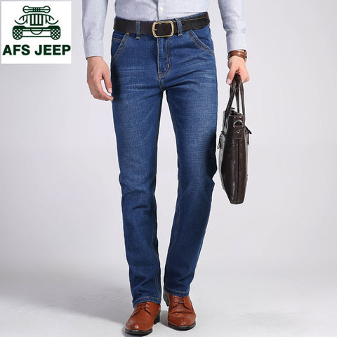 AFS JEEP  2017 Men's stretch Jeans Fashion Simple Casual Business pant Slim Straight Leg Medium Washed Denim  High Quality jeans
