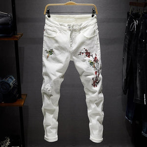 AIRGRACIAS 2019 Men Ripped Jeans Pants Biker Slim Straight Frayed Embroidered Denim Trousers New Fashion Hip Hop Jean men