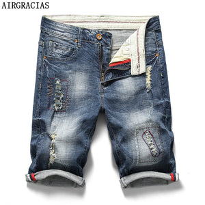 AIRGRACIAS Mens Ripped Short Jeans Brand Clothing Bermuda 98% Cotton Shorts Breathable Denim Shorts Male Summer New Fashion