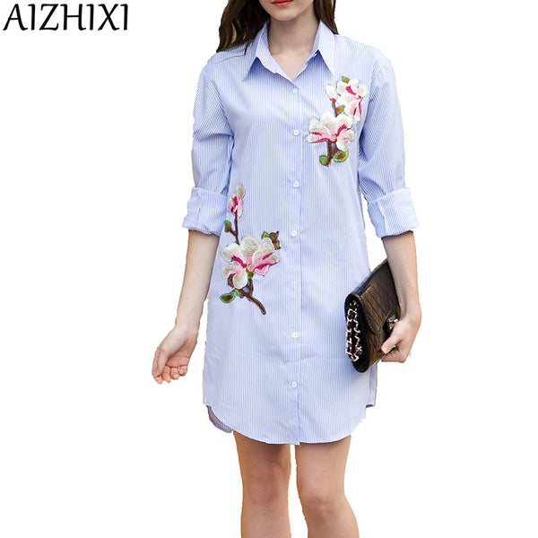 AIZHIXI New 2018 Summer Elegance Striped Embroidery Dress Women's Casual Turn-down Collar Long Sleeve Belt Dress - thefashionique