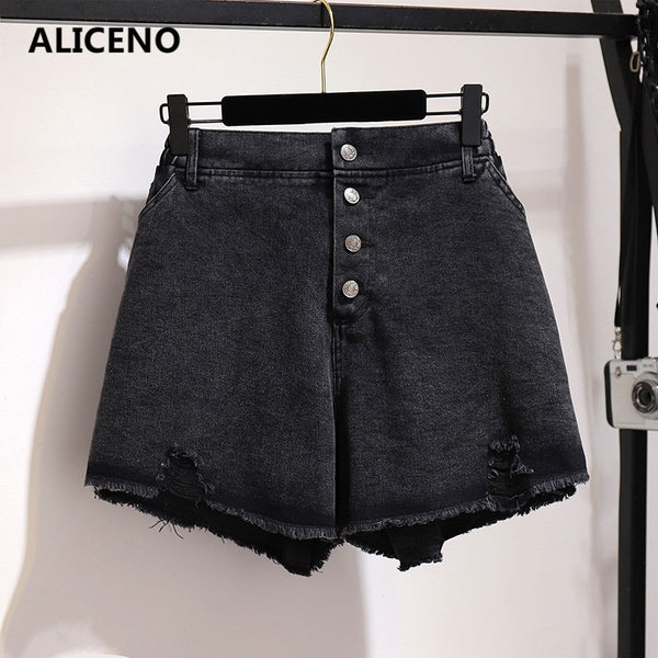 ALICENO 6XL-2XL BIG SIZE 60-150Kg Wear Summer Women High Waist Sexy Black Jeans Shorts Button Fly Loose Hole Denim Shorts - thefashionique