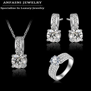 ANFASNI New Arrival Wedding Jewelry Set Silver Color Cubic Zircon Necklace/Earring/Ring Set Choose Size For Ring CST0022-B - thefashionique