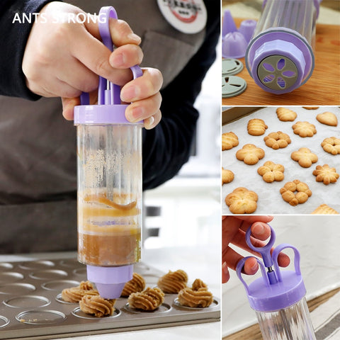 ANTS STRONG baking pastry cookie mold gun/12 flower mold 6 pastry tips biscuit cutter DIY press cake making machine - thefashionique