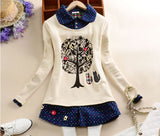 AREALNA Winter kawaii Sweatshirt Women thicken Pullovers flannel Little Cats And Big Tree Casual hoodies women moletom feminino - thefashionique