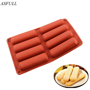 ASFULL Bakeware Tools Cake Pastry Mould 8-Cavity Rectangles Shape Silicone Mold For Pudding Soap Brownie Egg Tart Cornbread - thefashionique