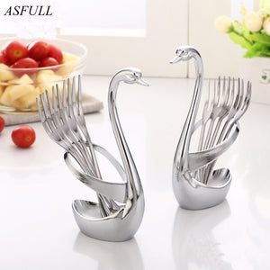 ASFULL Creative Kitchen Storage Cutlery Holder Metal Swan Seat Fork Spoon Tableware Racks Kitchen for Organizer Fruit Cake - thefashionique