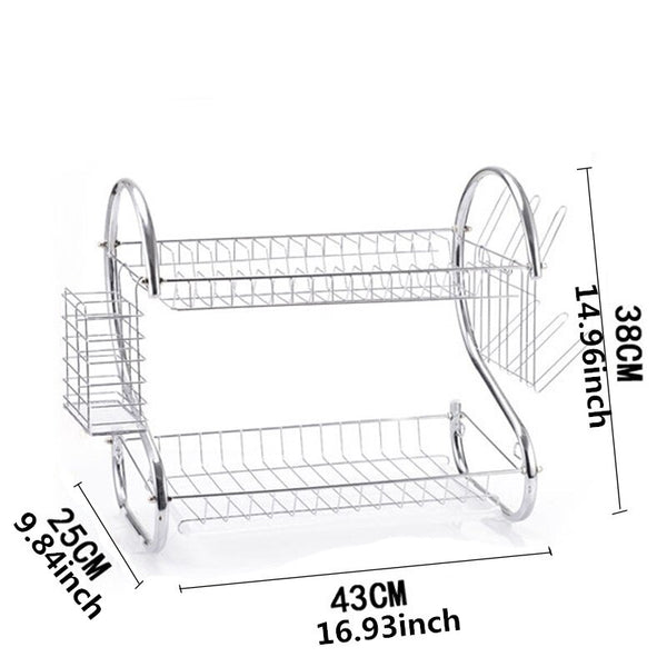 ASFULL Double Layer Rack Dishes Metal-shaped Kitchen Storage Organizer Shelf Plate Flatware Drain Cup Rack Bowl Sponge Holder