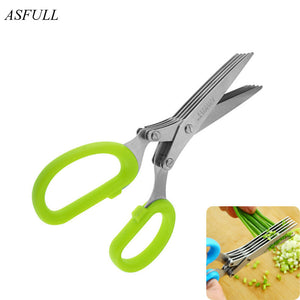 ASFULL Novelty 5 layers of stainless steel kitchen Chopped scallions scissors cut office shredding DIY for craft scissors - thefashionique