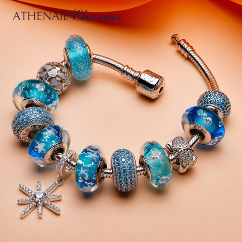 ATHENAIE 925 Silver Summer Collection Blue Snowflake Pendant With Heart Charms and CZ Glass Beads Complete Bracelets For Women - thefashionique