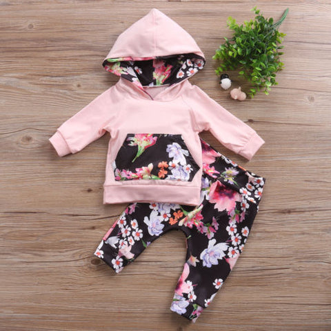 AU Stock Newborn Baby Kids Girls Clothes Floral Hooded Tops+Leggings Outfits Set