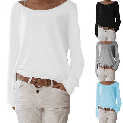 7ed7f5efa2843d AVODOVAMA M 2018 New Solid knitted Blouse Female Casual O Neck Long Sleeve  Women Tops Loose