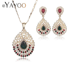 AYAYOO African Green Color Jewelry Sets For Women Wedding Bridal Water Drop Vintage Dubai Engagement Bridal Party Accessories - thefashionique