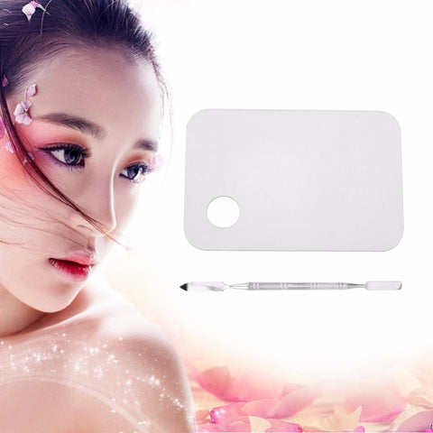 Acrylic Makeup Mixing Palette Nail Art Gel Palette Plate Knife with Spatula Makeup Foundation Color Blending Tool Accessories