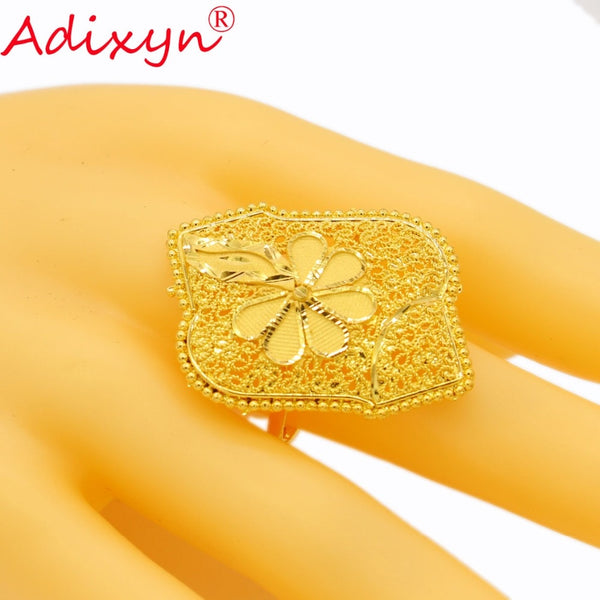 Adixyn India Plus Wide Ring for Women/Teenage Girls Gold Color Trendy Charm Party Jewelry African/Ethiopian/Arab Items N02271 - thefashionique