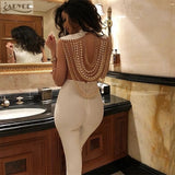 Adyce 2018 New Summer Women Jumpsuit  Elegant Beads Sexy Backless Sleeveless Chain Celebrity Night Club Party Jumpsuits Rompers - thefashionique