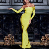 Adyce 2019 New Arrival Sexy Women Bandage Dress Long Sleeve Yellow Draped Off Shoulder Long Maxi Celebrity Evening Party Dresses - thefashionique