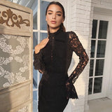 Adyce 2019 New Summer Women Bandage Dress Sexy Pink Black Lace Long Sleeve Mermaid Maxi Club Dress Celebrity Party Dress Vestido - thefashionique