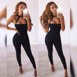 Adyce 2019 New Women Bandage Jumpsuits Elegant Black Sexy Halter Hollow Out Metal Button Jumpsuit Celebrity Party Club Rompers - thefashionique