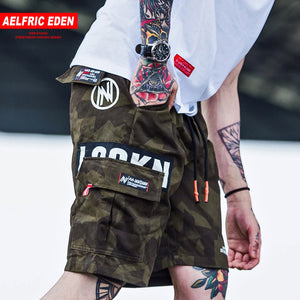 Aelfric Eden Cargo Shorts Men Hip Hop Summer Streetwear Letter Print Camouflage Print 2019 New Fashion Knee Length Short Joggers - thefashionique