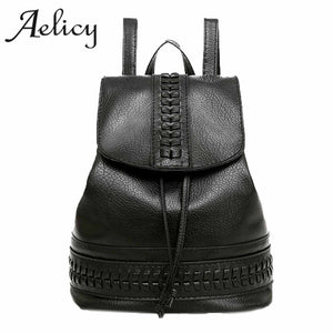 Aelicy High Quality Soft PU Leather Travel Backpack Korean Women Backpack Leisure small pu leather vintage backpack - thefashionique