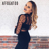 Affogatoo Backless zipper lace jumpsuits rompers women Transparent long sleeve sexy jumpsuit O neck elegant party playsuit 2018 - thefashionique