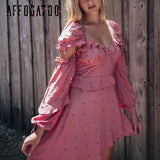 Affogatoo Elegant vintage sexy backless ruffle women dress V necksummer short party dress Lantern sleeve pink dress asymmetrical - thefashionique