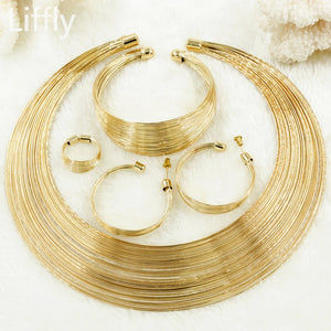 African Fashion Women Moon Shaped Necklace Italian Gold Wire Christmas Jewelry Bridal Wedding Earrings Ring Jewelry Sets & More - thefashionique