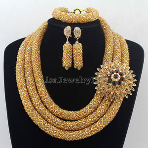 African Jewelry Sets Nigerian Beads Wedding Jewelry Set Bridal Statement Jewelry Set Womens Jewellery Set HD7347