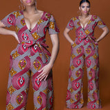 African national wind digital printing before and after V collar sexy jumpsuit summer new street fashion apparel high quality - thefashionique