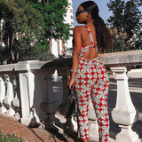 African women's personality jumpsuit new fashion sexy print backless cross personality jumpsuit vest waist national print jumpsu - thefashionique