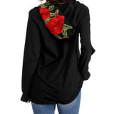 Alisister Embroidery Rose Sweatshirt Hoodie Women Black No Bling Hoodied Pullover Jumper Hip Hop Oversize Brand Clothing - thefashionique