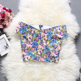 Alpha customization 2017 Summer New Arrival Women Printed Floral Crop Top High Elastic Bandage Sleeveless Sexy Tops 11 colors - thefashionique