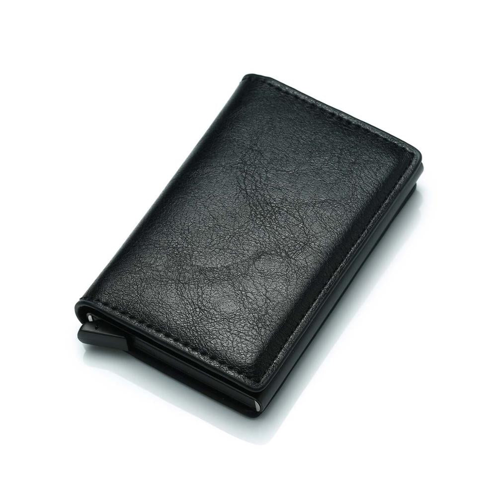Aluminium Alloy Credit Card Holder PU Leather Wallet Antitheft Men Wallets Automatic Pop Up Card Case Metal men Card Holder RFID - thefashionique