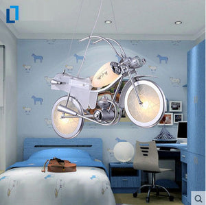 Aluminum motorcycle shape glass cartoon chandelier E14 Incandescent LED modern Lamps for Children bedroom lamp lighting