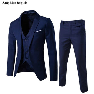 Amphion&spirit 2018 Fashion Large Size Korean Business Suit Men Three Pieces of Suit and Groom Wedding Dress Casual Men's Suit - thefashionique