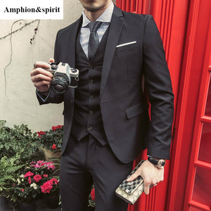 Amphion&spirit New Style Fashion Suit Men's Three-piece Suits Slim Korean Casual Suit Business Groom Wedding Dress Men's Suit - thefashionique