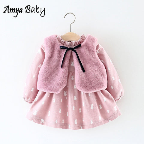 AmyaBaby Baby Girl Clothes 2018 Winter Fur Vest+Princess Dresses Clothes Sets Newborn Baby Girl Christmas Outfits Infant Clothes