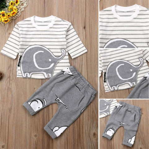Animal Elephant 2Pcs Clothes Cotton Newborn Kids Baby Girl Boy Stripe Tops Winter T-shirt+Grey Long Pant Children Casual Outfit