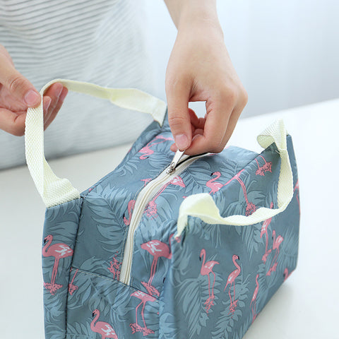 Animal Flamingo Lunch Bags Women Portable Functional Canvas Stripe Insulated Thermal Food Picnic Kids Cooler Lunch Box Bag Tote - thefashionique