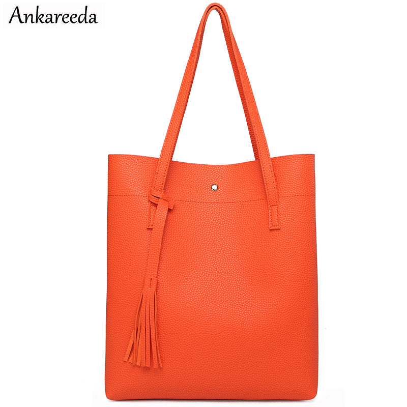 Ankareeda Women Shoulder Bags High Quality Women's Soft Leather Handbag Luxury Brand Tassel Bucket Bag Fashion Women's Handbags - thefashionique