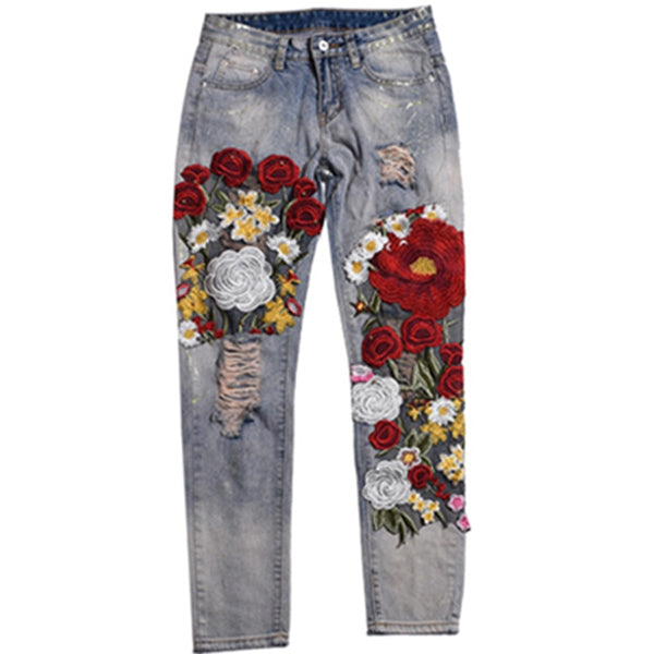 Ankle Length Casual Pants Women Vintage Ripped Denim Jeans Pants Female Embroidery Pattern Patchwork Blue Jeans Trouser Style - thefashionique