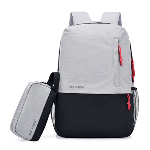 Anti Theft Polyester Unisex Backpack Big Capacity Travel Women Shoulder Bags Patchwork Men Laptop Daily Pack 14 Inch Backpacks - thefashionique
