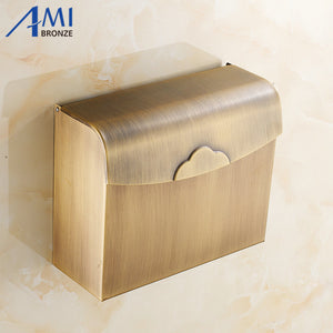 Antique Brass Toilet Paper Holder box Wall Mounted Bathroom Accessories Sanitary wares 7010A - thefashionique
