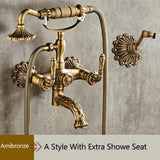 Antique Brushed Brass Bath Faucets Wall Mounted Bathroom Basin Mixer Tap Crane With Hand Shower Head Bath & Shower Faucet - thefashionique