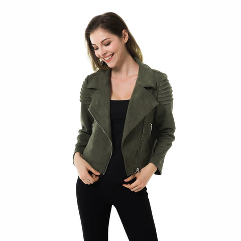 15af3a8817a7 Apperloth Suede Leather Blazers Coat Women 2019 Fashion Zipper Pockets  Ruched Ladies Outerwear Casual Elegant Office