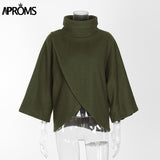 Aproms Elegant Gray TurtLeneck Irregular Blouse Womens 3/4 Sleeve Casual 90s Loose Top Street Fashion Wide Cuffs Shirt Blusas - thefashionique