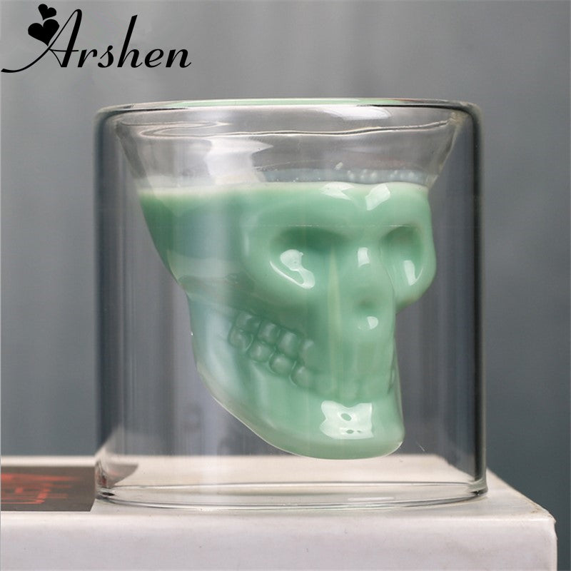 Arshen Creative 4 Size Double Wall Skull Shot Glass Beer Cup Transparent Wine Whiskey Champagne Cocktails Drinkware Party Gift - thefashionique