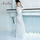 ArtSu Women 2017 Sexy V-neck Long Sleeve Long Lace Dress Summer Floral Maxi Vestidos Mujer Plus Sexy Black White Red 4XL DR5046 - thefashionique